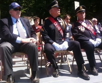 At the 2010 Memorial Day ceremony (from left): First Selectman Gordon Joseloff, and grand marshals George Marks Jr. and Sr. (though it's hard to tell which is which).