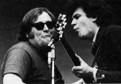 Harvey Brooks (left) and Mike Bloomfield, when they played together in Electric Flag (a few years after the Dylan session).