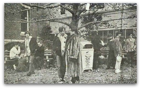 """Back in Andrew Loog Oldham's day, the area behind the old library -- at the corner of Post Road and Main Street, across from the YMCA -- was called """"Needle Park."""" It was a popular teenage hangout."""