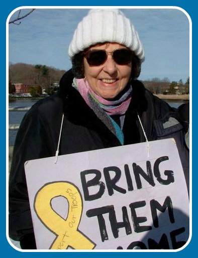 Estelle Margolis in 2012. Every Saturday for years,she was part of an anti-war vigil on the Post Road bridge.