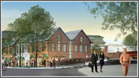 An artist's rendering of proposed new construction on the corner of Church Lane and Elm Street -- the current site of the Gunn House.