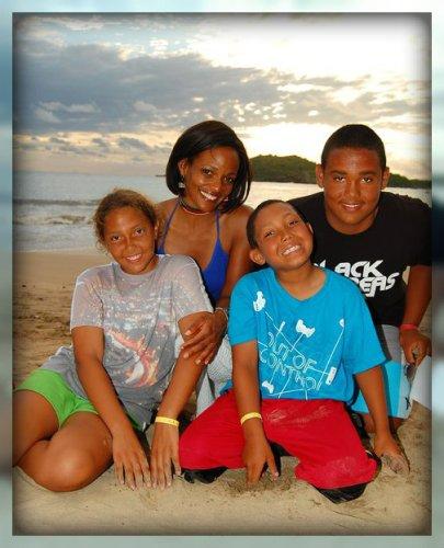 Kim Hamer and her children today.