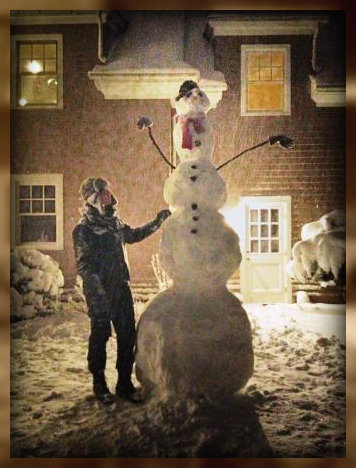 ...and Clay Singer and Michelle Pauker created this snowman. Clay is 6-2, so I'm guessing the snowman is 9 feet tall.