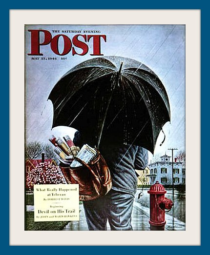 "Westport artist Stevan Dohanos used his home town as models for this May 13, 1944 Saturday Evening Post cover called ""Mailman."""