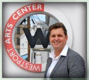 Peter Van Heerden, the Westport Arts Center's dynamic executive director. (Photo by Helen Klisser During)