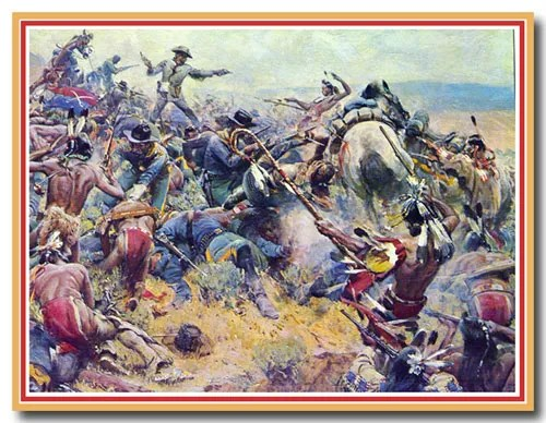 """A few small details from Eric von Schmidt's """"Here Fell Custer."""""""