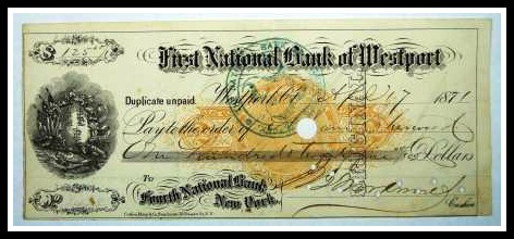 A $125 bank check, from First National Bank of Westport to Fourth National Bank of New York.