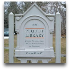 Pequot Library sign