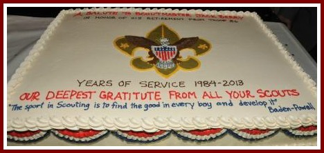"The inscription on Jack Berry's cake read, ""The sport in scouting is to find the good in every boy, and develop it."""