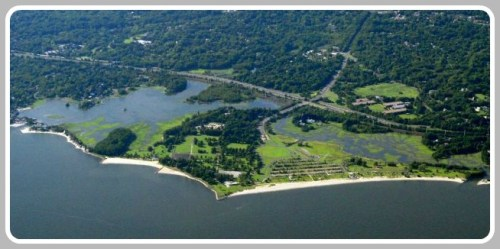 An aerial view of Sherwood Island State Park.