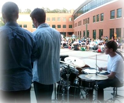 """The Staples courtyard, during a """"Pops Music"""" concert."""
