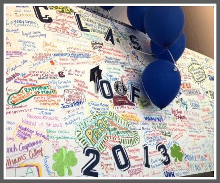 A large poster board -- declaring next year's plans -- hung outside the auditorium. The places the grads will go are fascinating.
