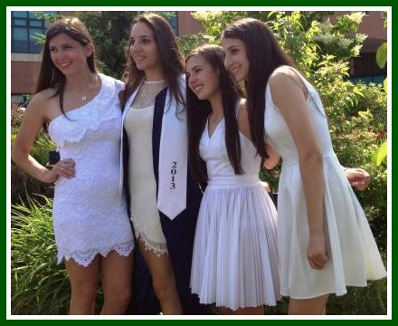 Posing in the courtyard -- the most popular post-graduation activity.