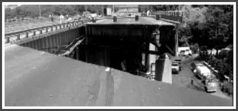 A gaping hole shows the Mianus River bridge collapse.
