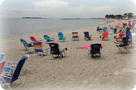 There are no rules, however, about reserving spots on the rest of the beach. By noon, many folks had already staked out their spots.