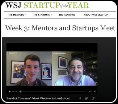 "Matt Rubenstein (left) is interviewed on the ""Startup of the Year"" website."