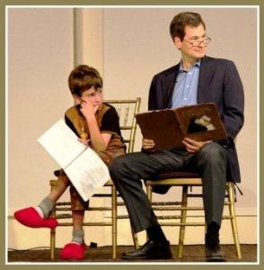 "David Pogue played the narrator. He read the ""Princess Bride"" story to his son Jeffrey. (Photo/Pam Einarsen)"