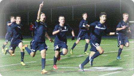 The game before Xavier -- a 1-0 win over higher-ranked Newtown -- elicited a joyous celebration. (Photo/Kim Lake)
