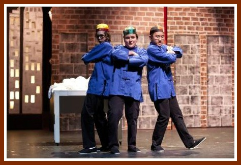 "Philip Cadoux, Jimmy Ray Stagg and Steven Xu as the 3 Chinese characters in ""Millie."" (Photo/Kerry Long)"
