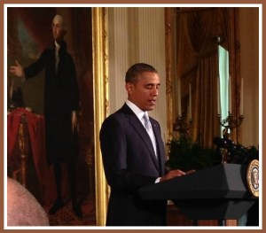Rev. Debra Haffner sat this close to President Obama (and George Washington) in the East Room.