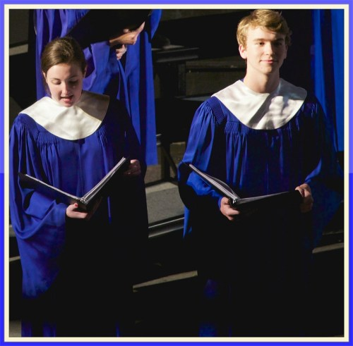 Claire Smith and Jack Baylis solo with the A Cappella Choir. (Photo/Lawrence J. Zlatkin)