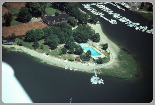 Trees are an important part of Longshore, as this aerial view shows.