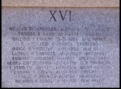 George Cardozo's name, at the Connecticut Fallen Firefighters Memorial.
