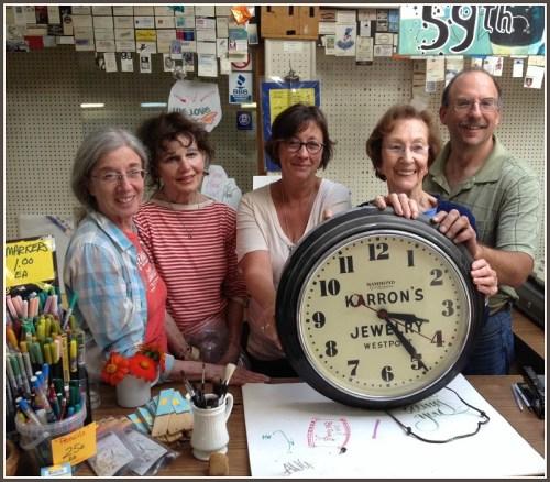 Max's famous Karron's clock with (from left) Nina Royce, Rita Ross Englebardt, Sherri Wolfgang, Shirley Mellor and Jay Cimbak.