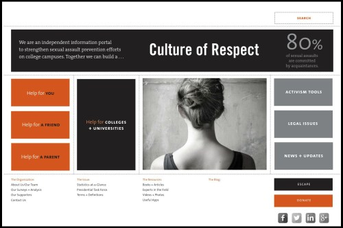 The Culture of Respect home page.