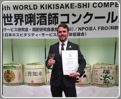 Jamie Graves, proud American at the sake sommelier competition.