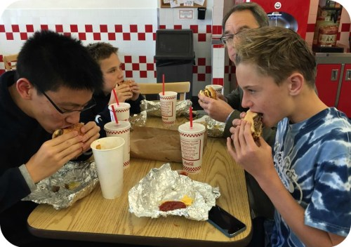 It doesn't get more Westport than a trip to Five Guys.