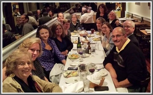 "A couple of days before she died, Chou Chou Merrill (4th from left, black outfit) joined classmates and other longtime Westport friends at Mario's. It was the perfect spot to celebrate ""old"" Westport, and she highlighted the event on Facebook."