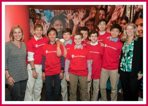 The Mechanical Masterminds, with Save the Children CEO Carolyn Miles (left).