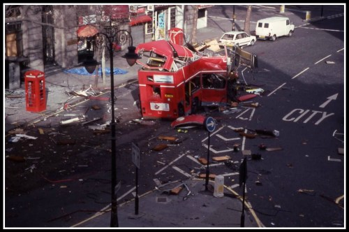 The aftermath of the 1996 IRA bus bombing in London.