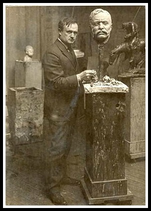 James Earle Fraser and his bust of Theodore Roosevelt, around 1921.