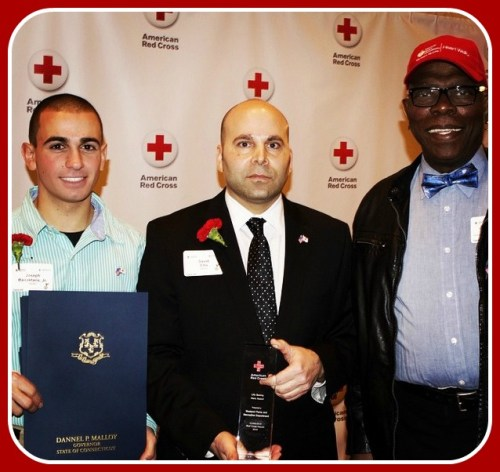 Joey Bairaktaris (left) and David Ellis (center) with Doc Kashka, at the recent Red Cross awards ceremony. Joey holds a certificate from Governor Malloy. (Photo/Jaime Bairaktaris, via Instagram)