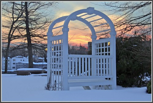 Library bench sunset - Lynn U Miller