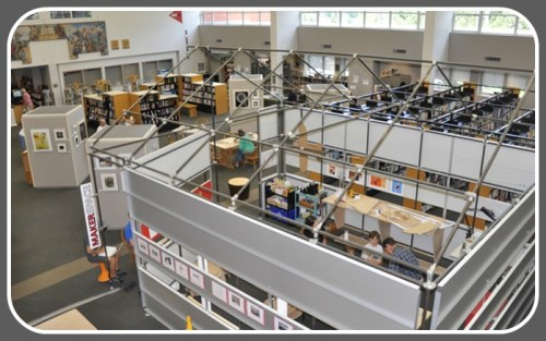 The Westport Library's Makerspace has a prominent position in the midst of the Great Hall.