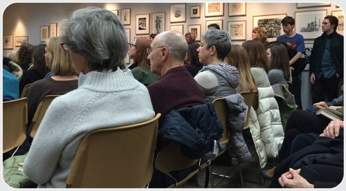 The overflow audience at the Westport Library.