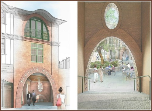 A courtyard sits at the crossroads of 3 pedestrian passageways.