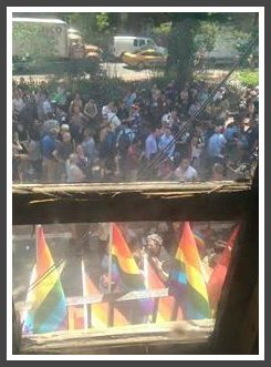 Ben Kampler took this photo of the crowd outside the Stonewall Inn, on the day the US Supreme  Court declared same-sex marriage constitutional in all 50 states.