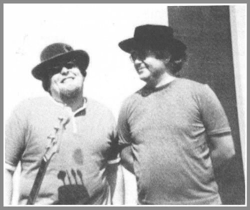 Harvey Brooks (left) and Albert Grossman, Bob Dylan's manager.