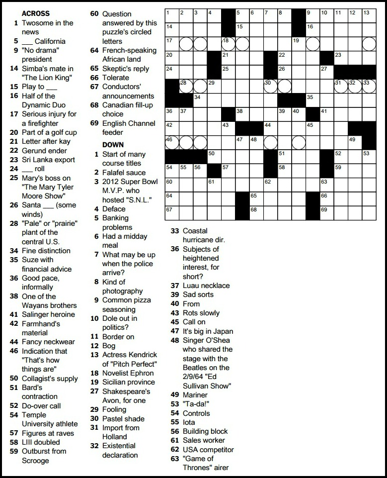 Ny Times Tuesday Crossword : times, tuesday, crossword, Milligan's, Puzzling, 06880