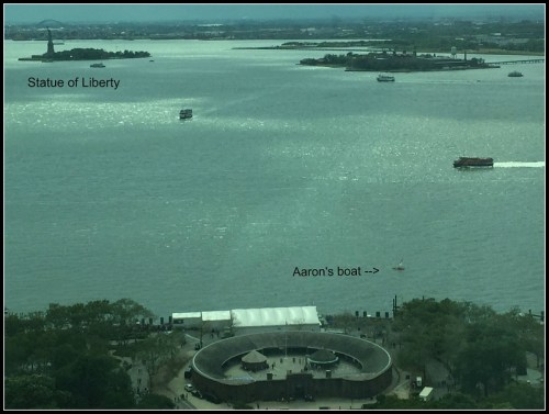 Aaron and Susan, as seen by Aaron's MTA colleagues on the 30th floor. The Statue of Liberty is much larger.