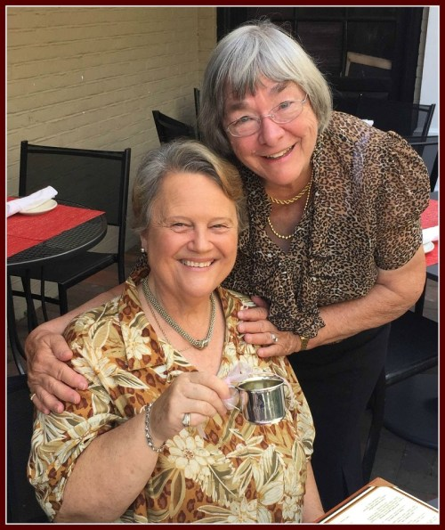 Linda Ogden (left), Mary Lou Schmerker, and the long-lost sterling silver baby cup.