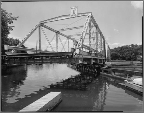 The Bridge Street bridge, open for Saugatuck River navigation.