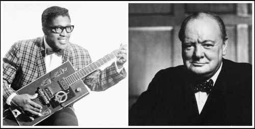 Scott Wright taught about Bo Diddley, and corresponded with Winston Churchill. This may be the 1st time the 2 men have ever appeared in the same photo collage.
