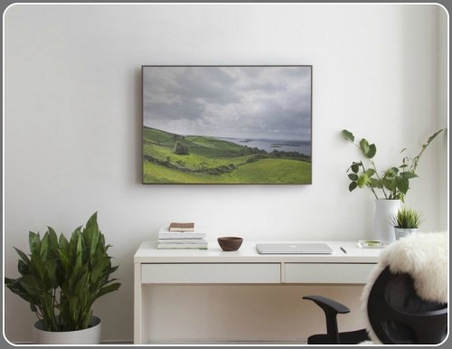 Soundwall art in a home office.