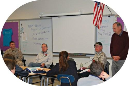 This year's veterans visiting Bedford Middle School included (from left) Ryan Ledan and Peter Nathan (Marines); Gun Moen (Air Force) and Jack Klinge (Navy). (Photo/Susan Van Riper)