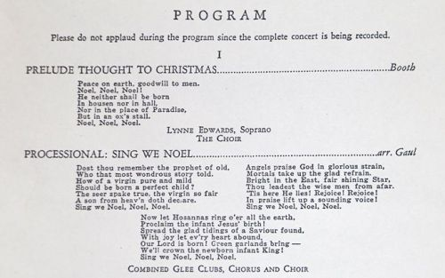 "Among the programs on display was this. The 2nd verse of ""Sing We Noel"" is no longer sung -- making it a lost verse from a carol that (except for Staples) is now quite obscure."